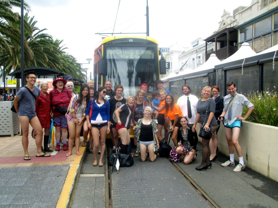 Everyone in front of the tram